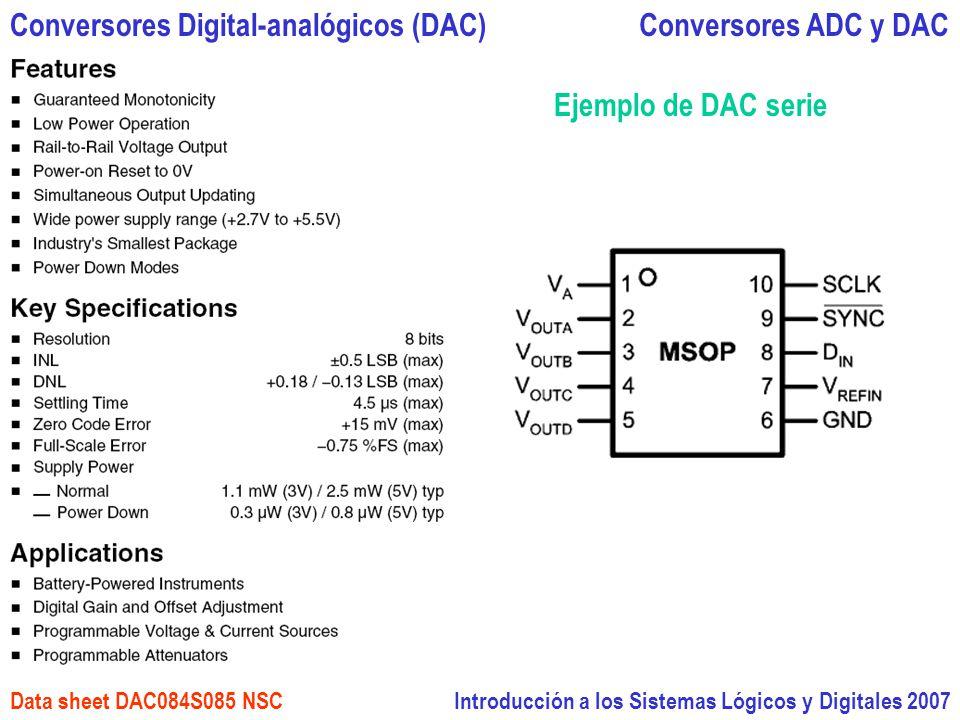 Introducción a los Sistemas Lógicos y Digitales 2007 Conversores ADC y DACConversores Digital-analógicos (DAC) Data sheet DAC084S085 NSC Ejemplo de DA