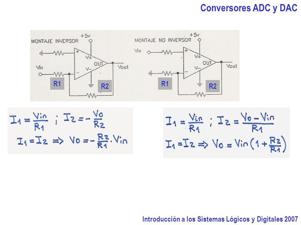 Introducción a los Sistemas Lógicos y Digitales 2007 Conversores ADC y DAC R2 R1