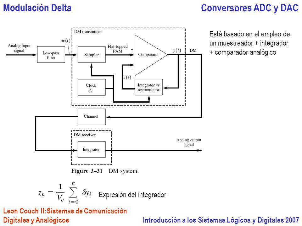 Introducción a los Sistemas Lógicos y Digitales 2007 Conversores ADC y DACModulación Delta Está basado en el empleo de un muestreador + integrador + comparador analógico Expresión del integrador Leon Couch II:Sistemas de Comunicación Digitales y Analógicos