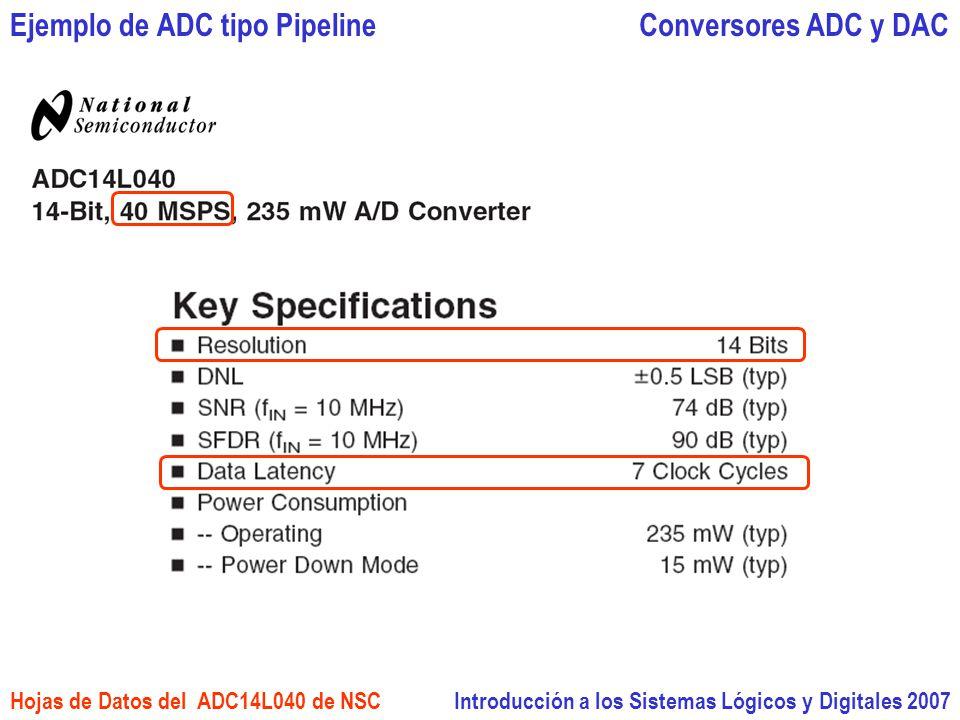 Introducción a los Sistemas Lógicos y Digitales 2007 Conversores ADC y DACEjemplo de ADC tipo Pipeline Hojas de Datos del ADC14L040 de NSC