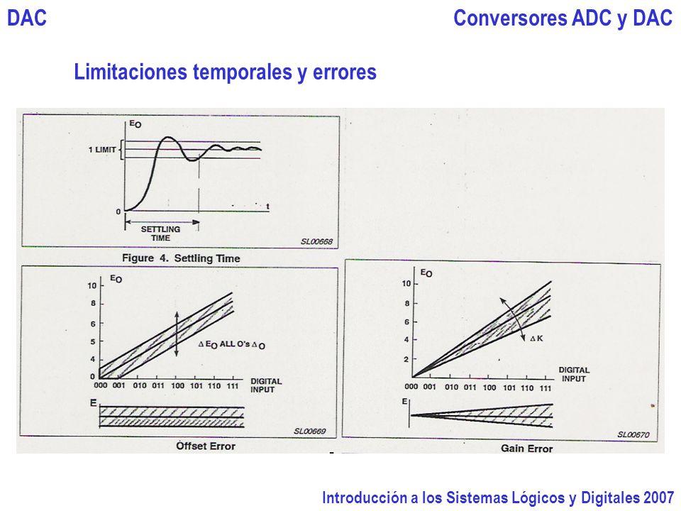 Introducción a los Sistemas Lógicos y Digitales 2007 Conversores ADC y DACDAC Limitaciones temporales y errores