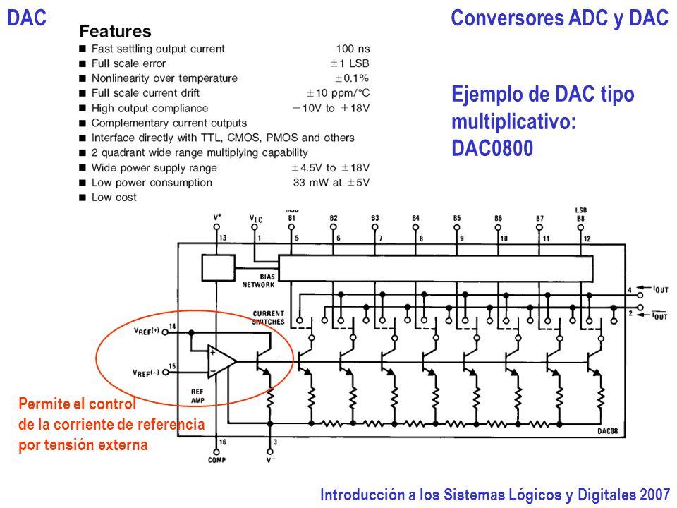 Introducción a los Sistemas Lógicos y Digitales 2007 Conversores ADC y DACDAC Ejemplo de DAC tipo multiplicativo: DAC0800 Permite el control de la corriente de referencia por tensión externa
