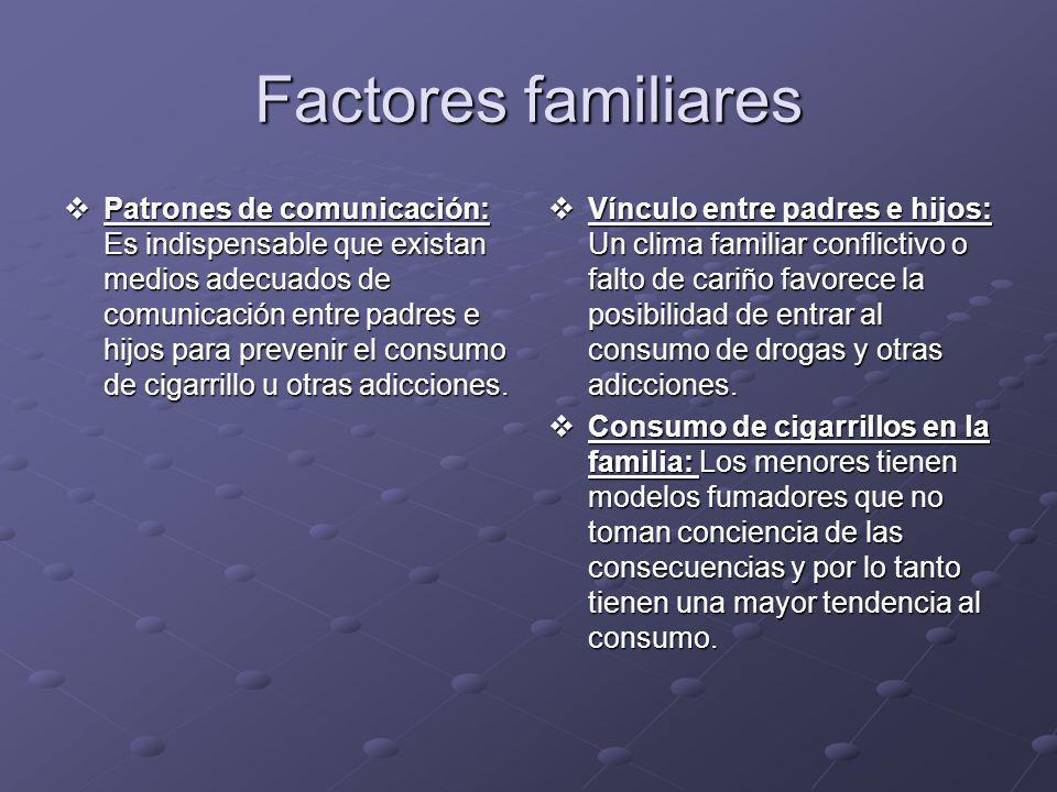 Factores familiares Patrones de comunicación: Es indispensable que existan medios adecuados de comunicación entre padres e hijos para prevenir el cons