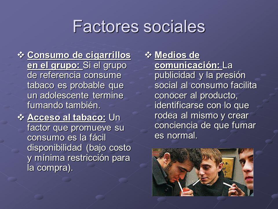 Factores sociales Consumo de cigarrillos en el grupo: Si el grupo de referencia consume tabaco es probable que un adolescente termine fumando también.