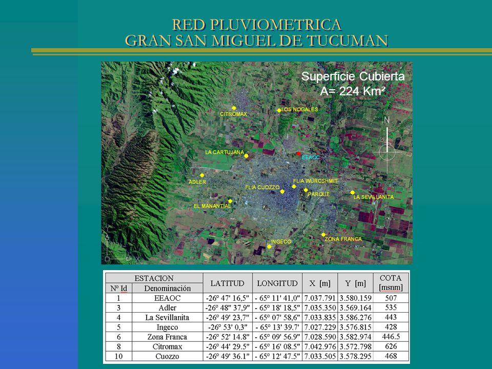 RED PLUVIOMETRICA GRAN SAN MIGUEL DE TUCUMAN Superficie Cubierta A= 224 Km²