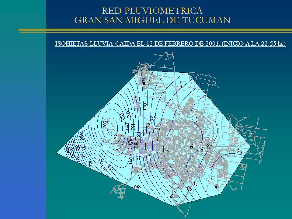 ISOHIETAS LLUVIA CAIDA EL 12 DE FEBRERO DE 2001, (INICIO A LA 22:55 hs) RED PLUVIOMETRICA GRAN SAN MIGUEL DE TUCUMAN