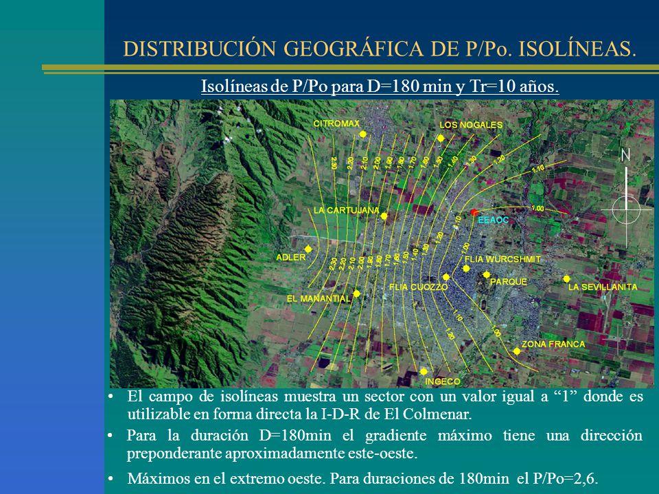 DISTRIBUCIÓN GEOGRÁFICA DE P/Po. ISOLÍNEAS. Isolíneas de P/Po para D=180 min y Tr=10 años. El campo de isolíneas muestra un sector con un valor igual