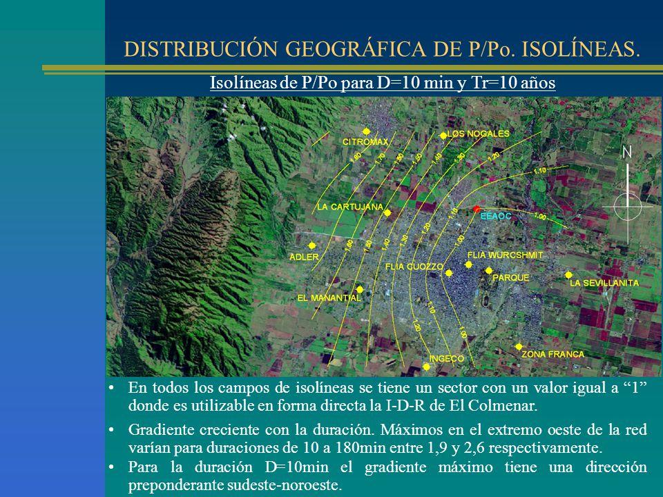 DISTRIBUCIÓN GEOGRÁFICA DE P/Po. ISOLÍNEAS. Isolíneas de P/Po para D=10 min y Tr=10 años En todos los campos de isolíneas se tiene un sector con un va