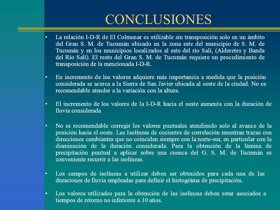 CONCLUSIONES La relación I-D-R de El Colmenar es utilizable sin transposición solo en un ámbito del Gran S. M. de Tucumán ubicado en la zona este del