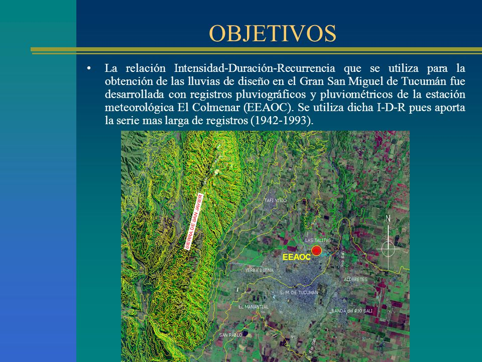 OBJETIVOS La relación Intensidad-Duración-Recurrencia que se utiliza para la obtención de las lluvias de diseño en el Gran San Miguel de Tucumán fue d