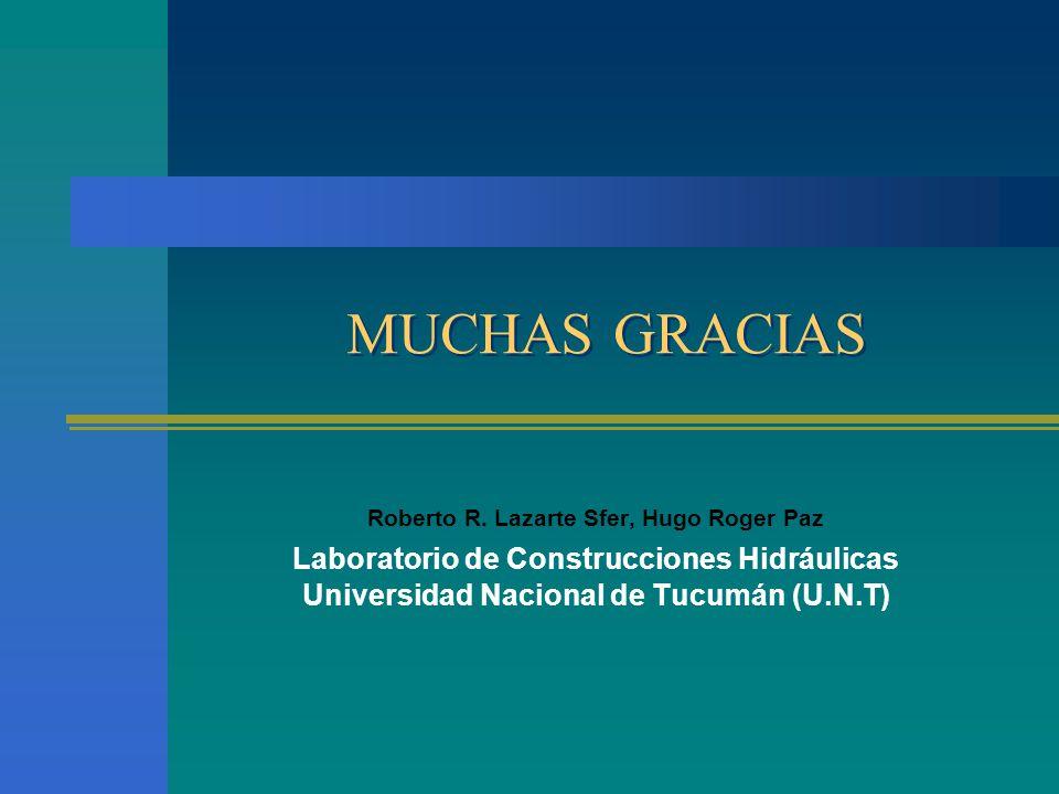 MUCHAS GRACIAS Roberto R. Lazarte Sfer, Hugo Roger Paz Laboratorio de Construcciones Hidráulicas Universidad Nacional de Tucumán (U.N.T)