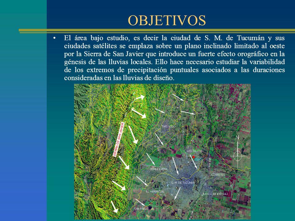 OBJETIVOS El área bajo estudio, es decir la ciudad de S. M. de Tucumán y sus ciudades satélites se emplaza sobre un plano inclinado limitado al oeste