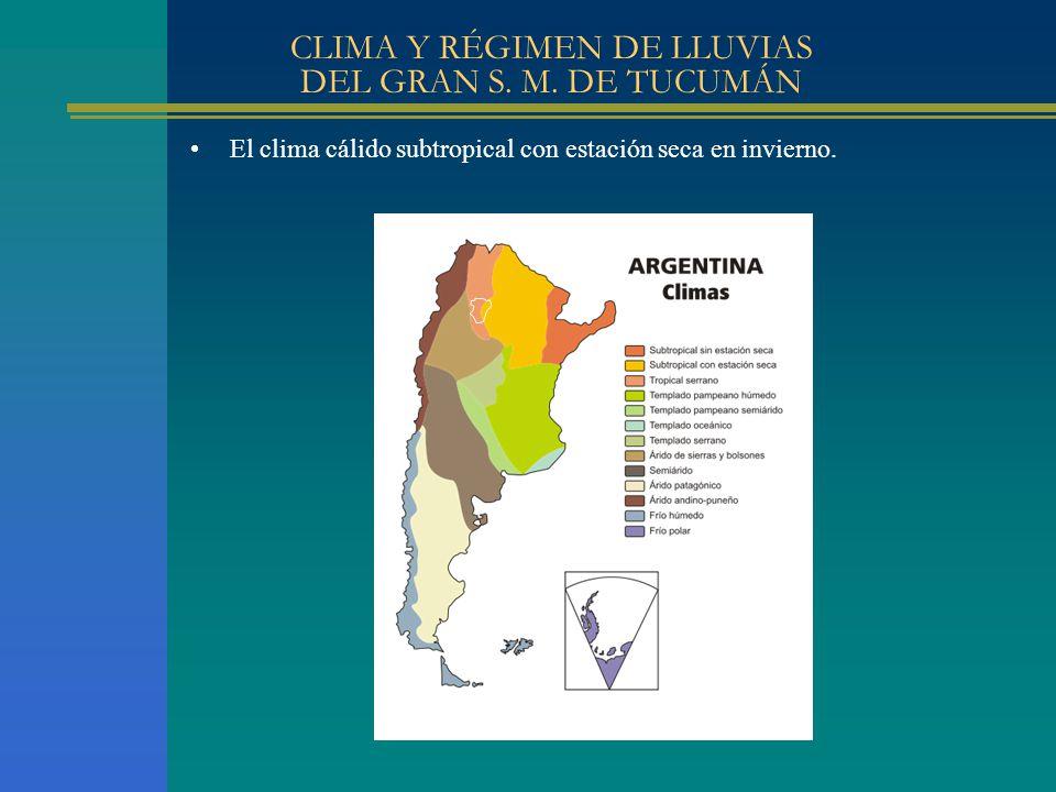 CLIMA Y RÉGIMEN DE LLUVIAS DEL GRAN S. M. DE TUCUMÁN El clima cálido subtropical con estación seca en invierno.
