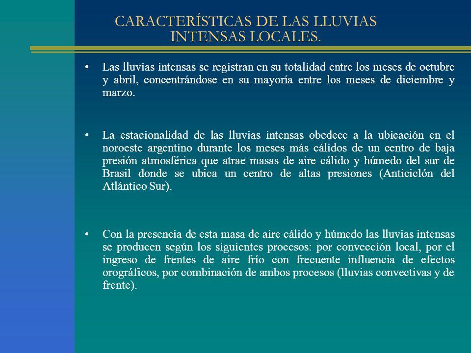 CARACTERÍSTICAS DE LAS LLUVIAS INTENSAS LOCALES. La estacionalidad de las lluvias intensas obedece a la ubicación en el noroeste argentino durante los