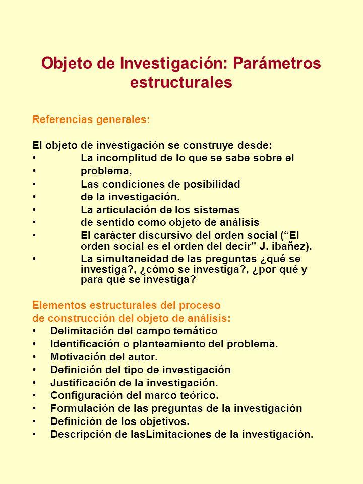 Objeto de Investigación: Parámetros estructurales Referencias generales: El objeto de investigación se construye desde: La incomplitud de lo que se sa