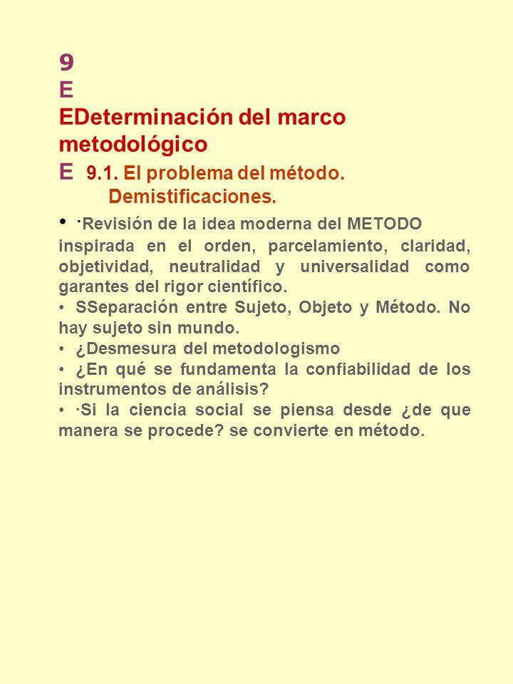 9 E EDeterminación del marco metodológico E 9.1. El problema del método. Demistificaciones. · Revisión de la idea moderna del METODO inspirada en el o