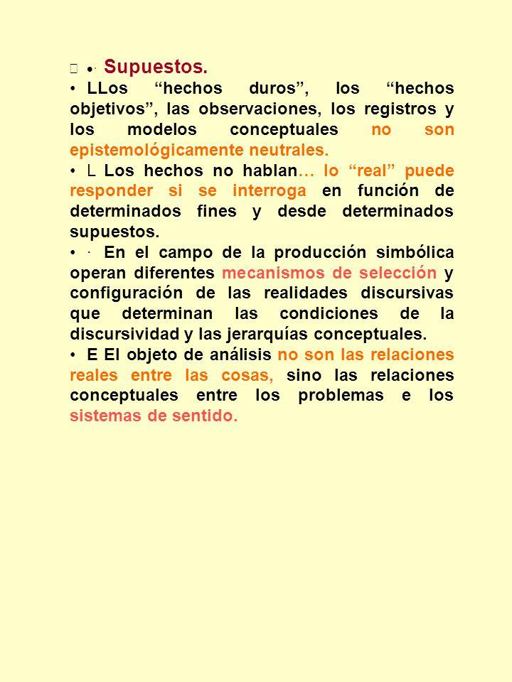 · Supuestos. LLos hechos duros, los hechos objetivos, las observaciones, los registros y los modelos conceptuales no son epistemológicamente neutrales