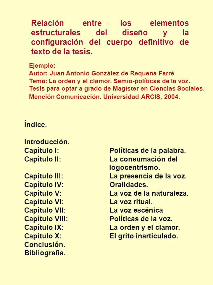 Relación entre los elementos estructurales del diseño y la configuración del cuerpo definitivo de texto de la tesis. Ejemplo: Autor: Juan Antonio Gonz