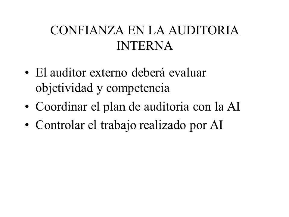 CONFIANZA EN LA AUDITORIA INTERNA El auditor externo deberá evaluar objetividad y competencia Coordinar el plan de auditoria con la AI Controlar el trabajo realizado por AI