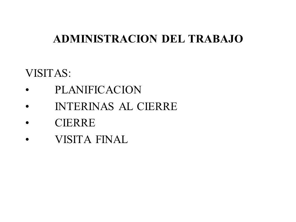 ADMINISTRACION DEL TRABAJO VISITAS: PLANIFICACION INTERINAS AL CIERRE CIERRE VISITA FINAL