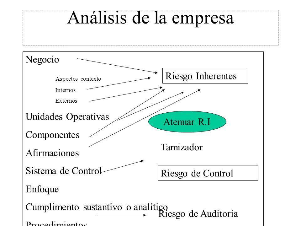 Análisis de la empresa Negocio Aspectos contexto Internos Externos Unidades Operativas Componentes Afirmaciones Sistema de Control Enfoque Cumplimento sustantivo o analítico Procedimientos Riesgo Inherentes Riesgo de Control Atenuar R.I Tamizador Riesgo de Auditoria