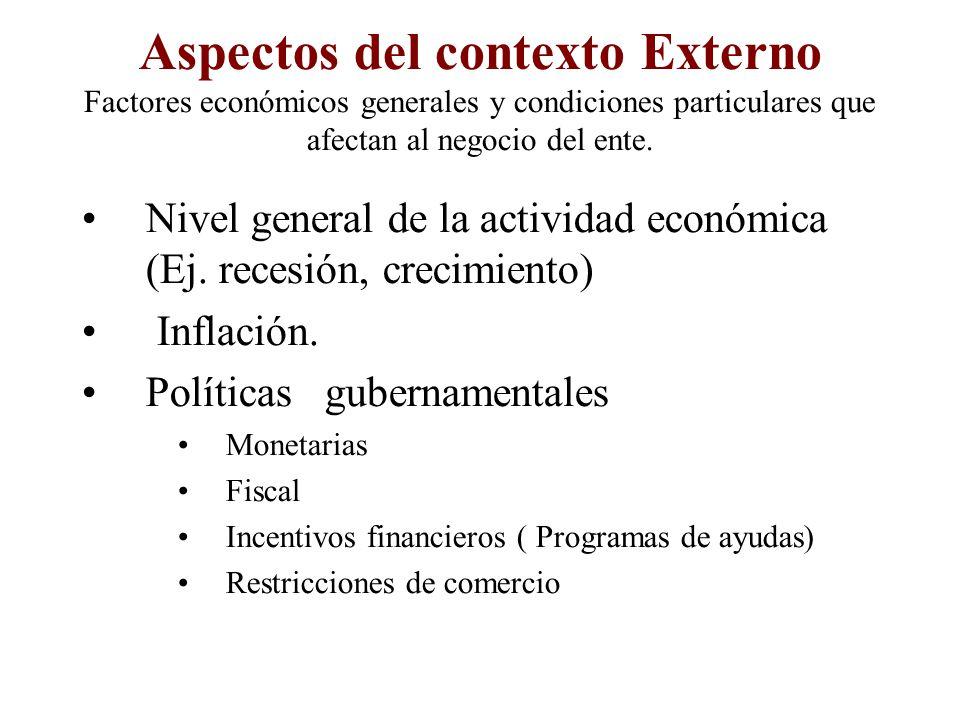 Aspectos del contexto Externo Factores económicos generales y condiciones particulares que afectan al negocio del ente.