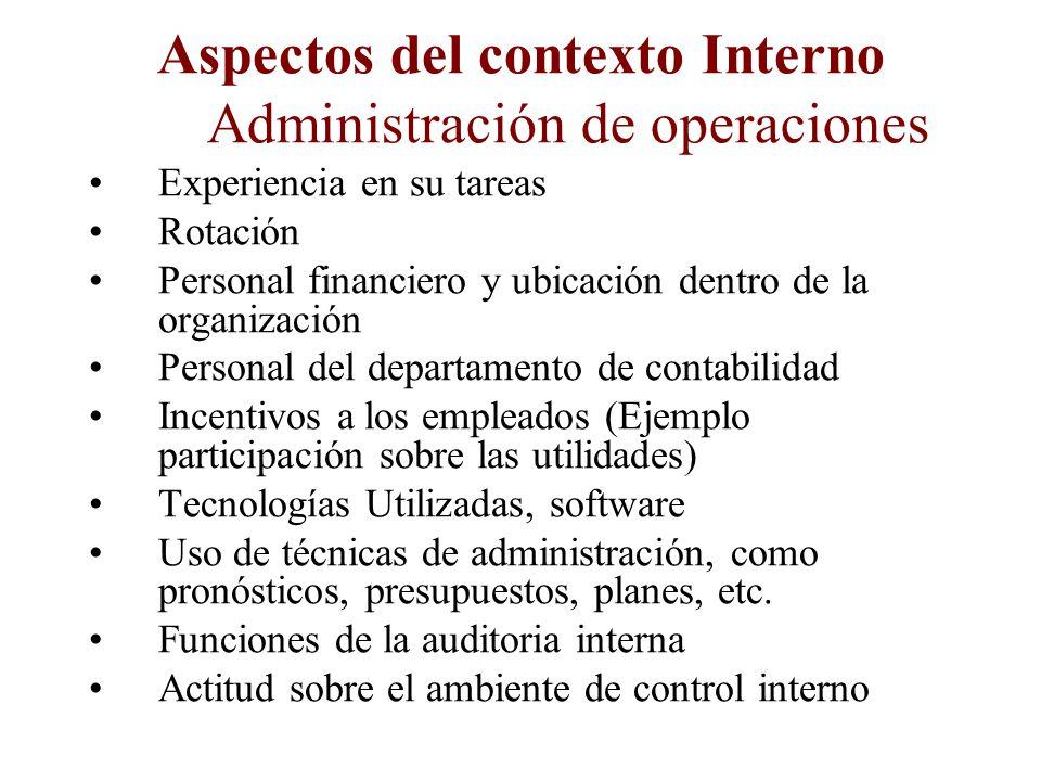Aspectos del contexto Interno Administración y propiedad Tipo societario Dueños capitales locales o extranjeros Experiencia en el negocio Estructura O