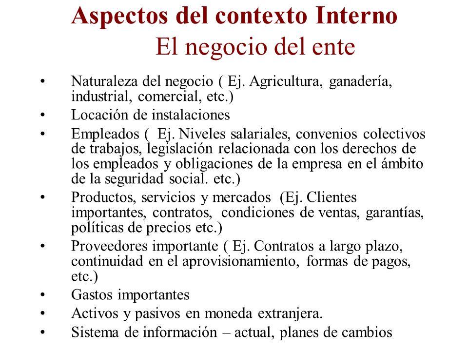 Aspectos del contexto Interno Administración de operaciones Experiencia en su tareas Rotación Personal financiero y ubicación dentro de la organizació