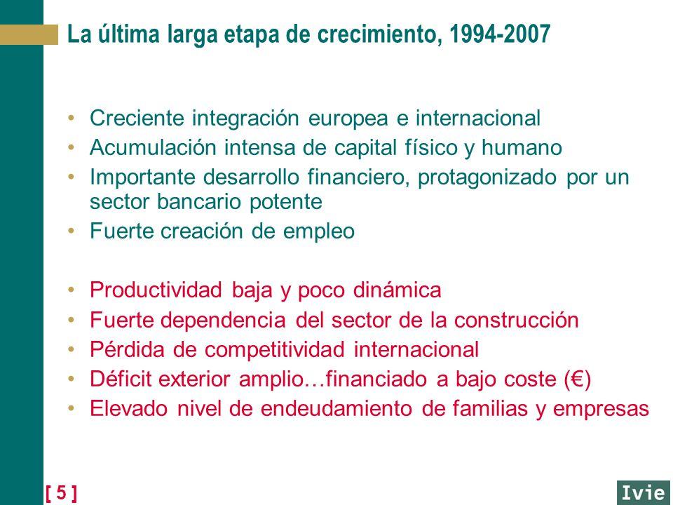 [ 5 ] La última larga etapa de crecimiento, 1994-2007 Creciente integración europea e internacional Acumulación intensa de capital físico y humano Imp