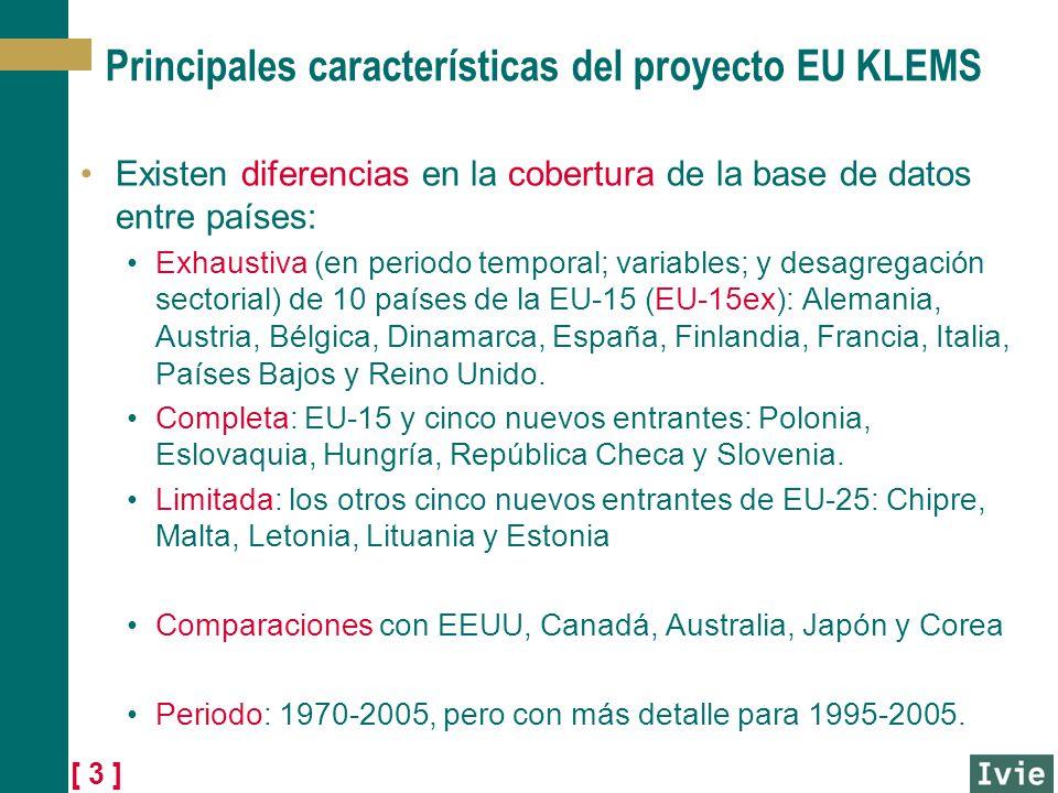 [ 3 ] Principales características del proyecto EU KLEMS Existen diferencias en la cobertura de la base de datos entre países: Exhaustiva (en periodo t