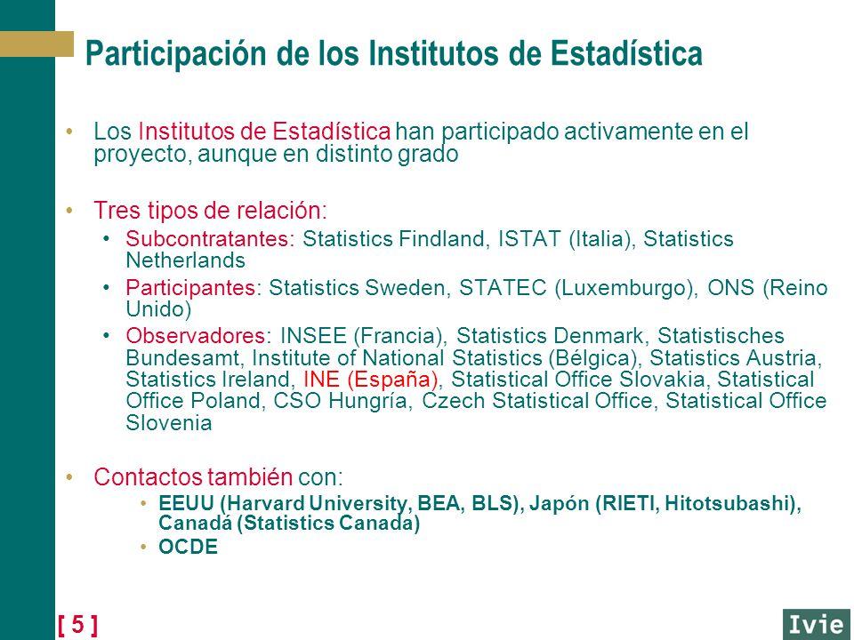[ 5 ] Participación de los Institutos de Estadística Los Institutos de Estadística han participado activamente en el proyecto, aunque en distinto grad