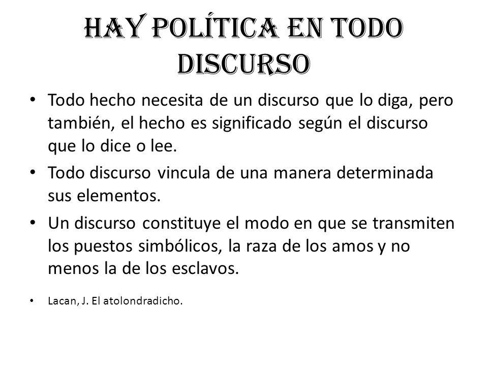 Hay política en todo discurso Todo hecho necesita de un discurso que lo diga, pero también, el hecho es significado según el discurso que lo dice o le