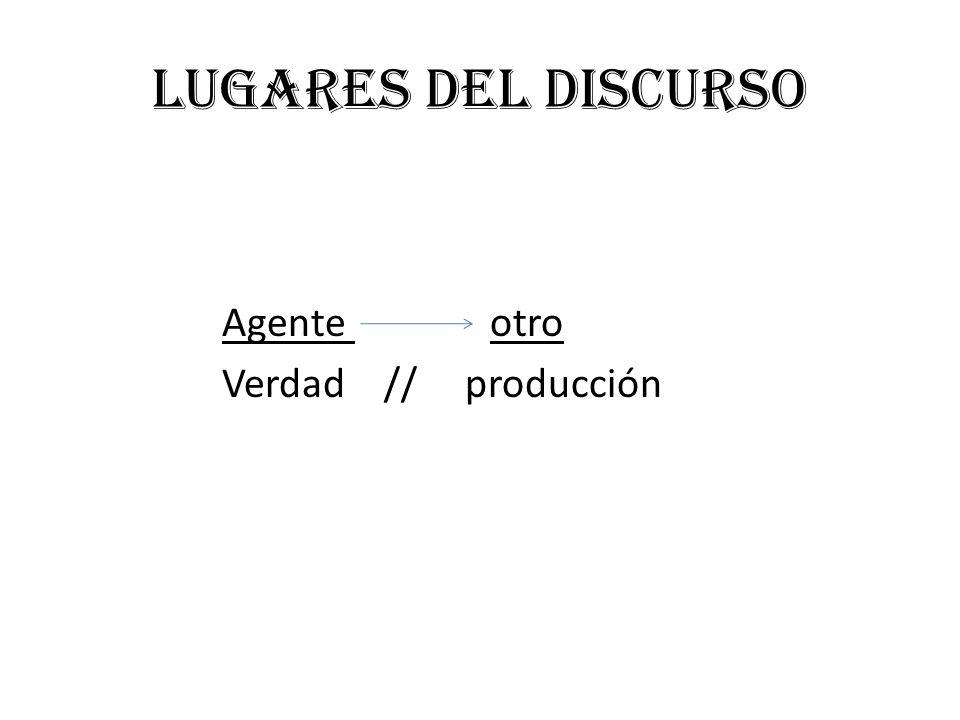 Lugares del discurso Agente otro Verdad // producción