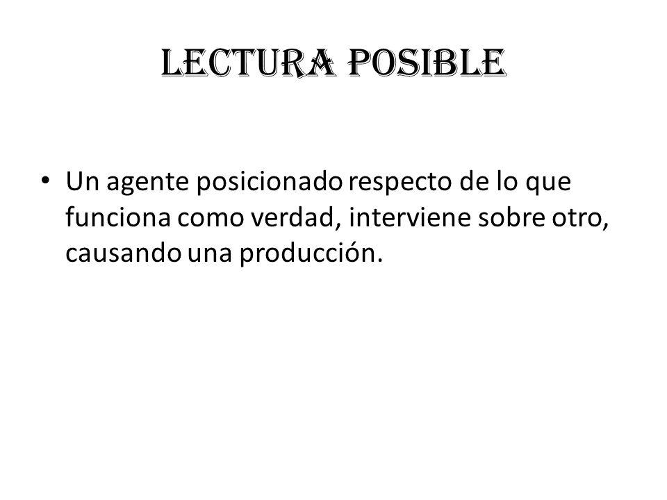 Lectura posible Un agente posicionado respecto de lo que funciona como verdad, interviene sobre otro, causando una producción.