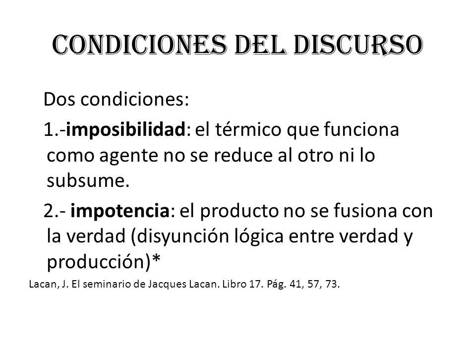 Condiciones del discurso Dos condiciones: 1.-imposibilidad: el térmico que funciona como agente no se reduce al otro ni lo subsume. 2.- impotencia: el