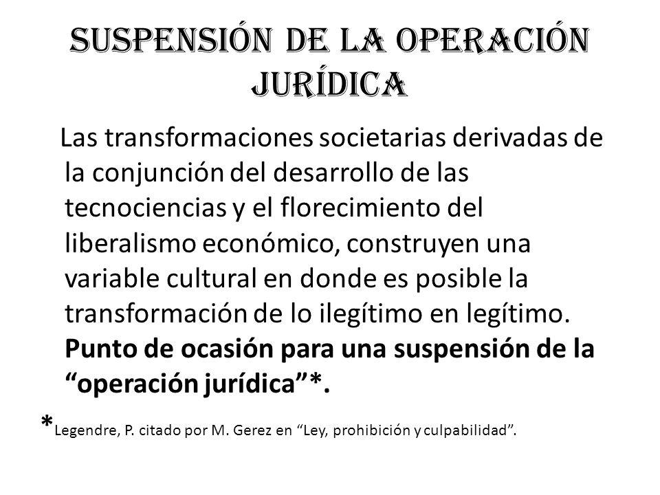 Suspensión de la operación jurídica Las transformaciones societarias derivadas de la conjunción del desarrollo de las tecnociencias y el florecimiento