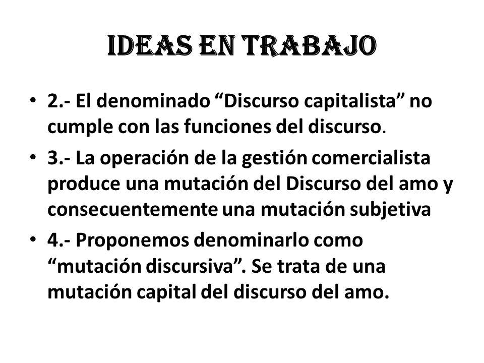 Ideas en trabajo 2.- El denominado Discurso capitalista no cumple con las funciones del discurso. 3.- La operación de la gestión comercialista produce