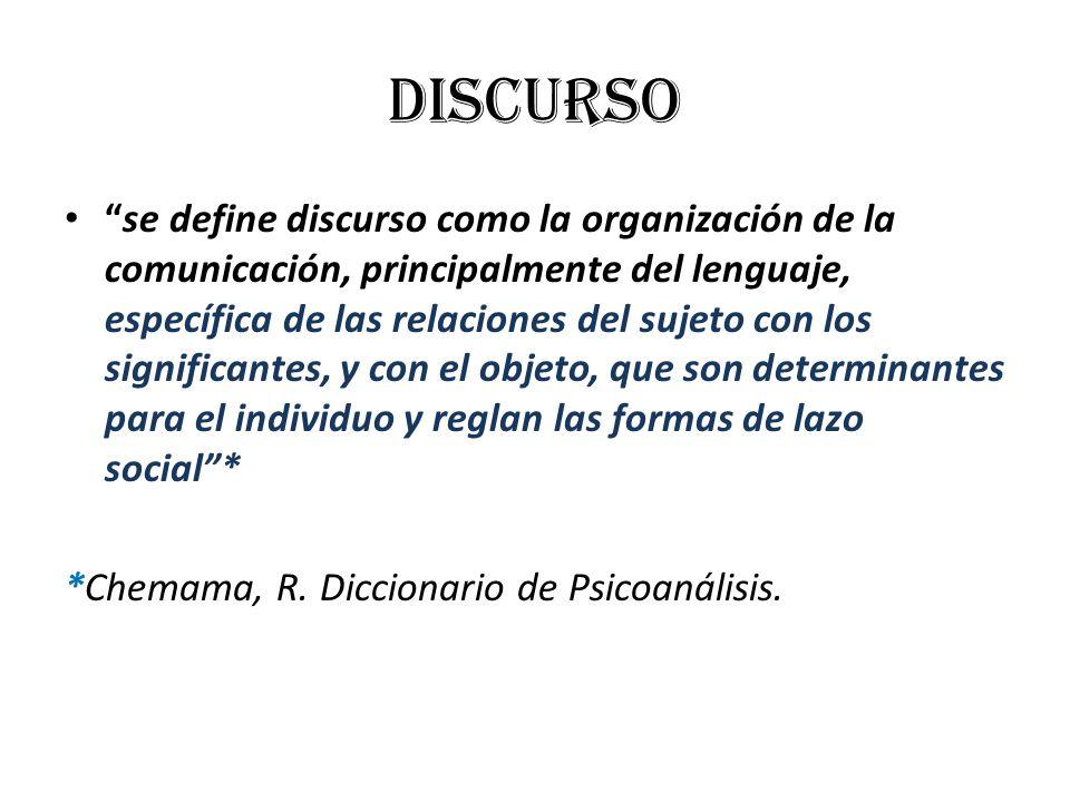 Discurso se define discurso como la organización de la comunicación, principalmente del lenguaje, específica de las relaciones del sujeto con los sign