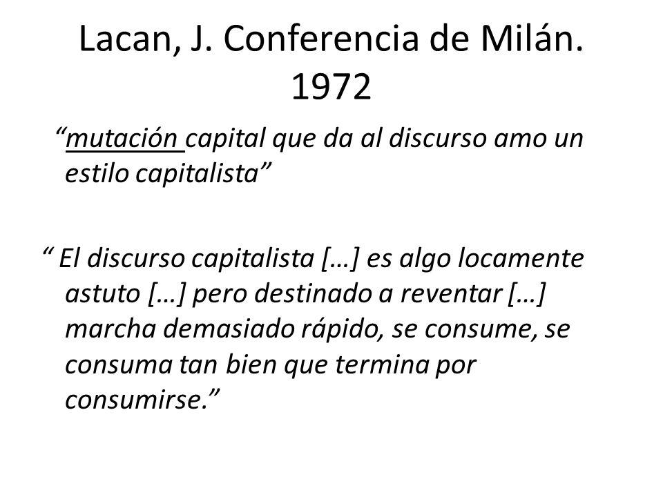 Lacan, J. Conferencia de Milán. 1972 mutación capital que da al discurso amo un estilo capitalista El discurso capitalista […] es algo locamente astut