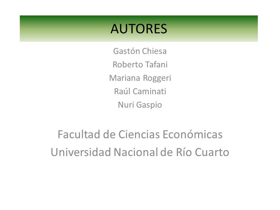 AUTORES Gastón Chiesa Roberto Tafani Mariana Roggeri Raúl Caminati Nuri Gaspio Facultad de Ciencias Económicas Universidad Nacional de Río Cuarto