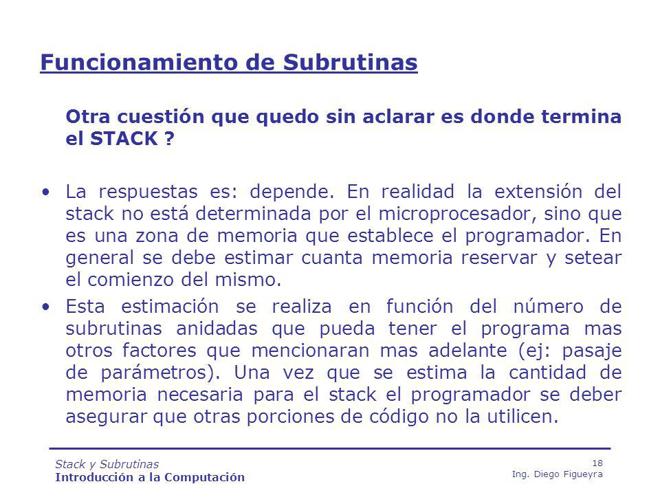 Stack y Subrutinas Introducción a la Computación 18 Ing.