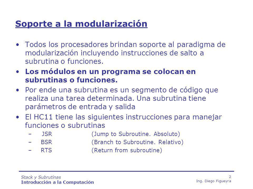 Stack y Subrutinas Introducción a la Computación 33 Ing.
