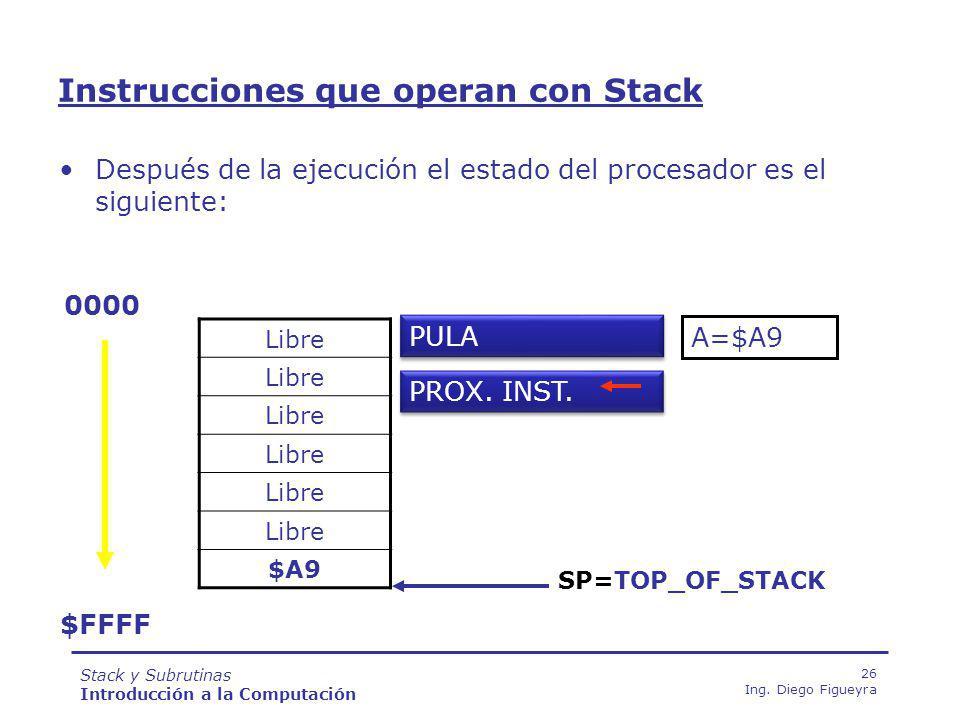 Stack y Subrutinas Introducción a la Computación 26 Ing.