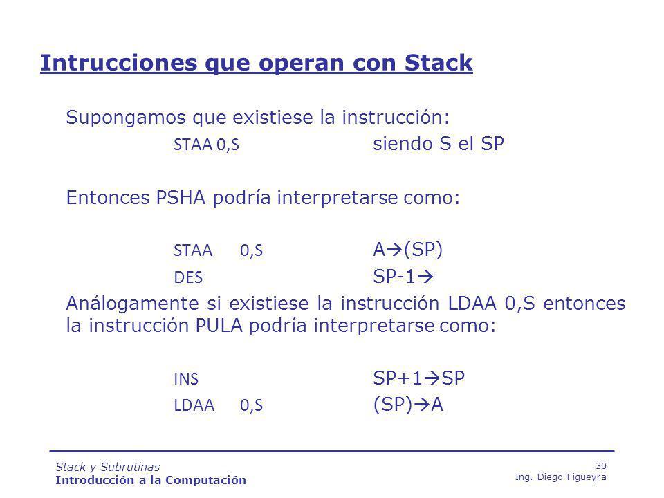 Stack y Subrutinas Introducción a la Computación 30 Ing.