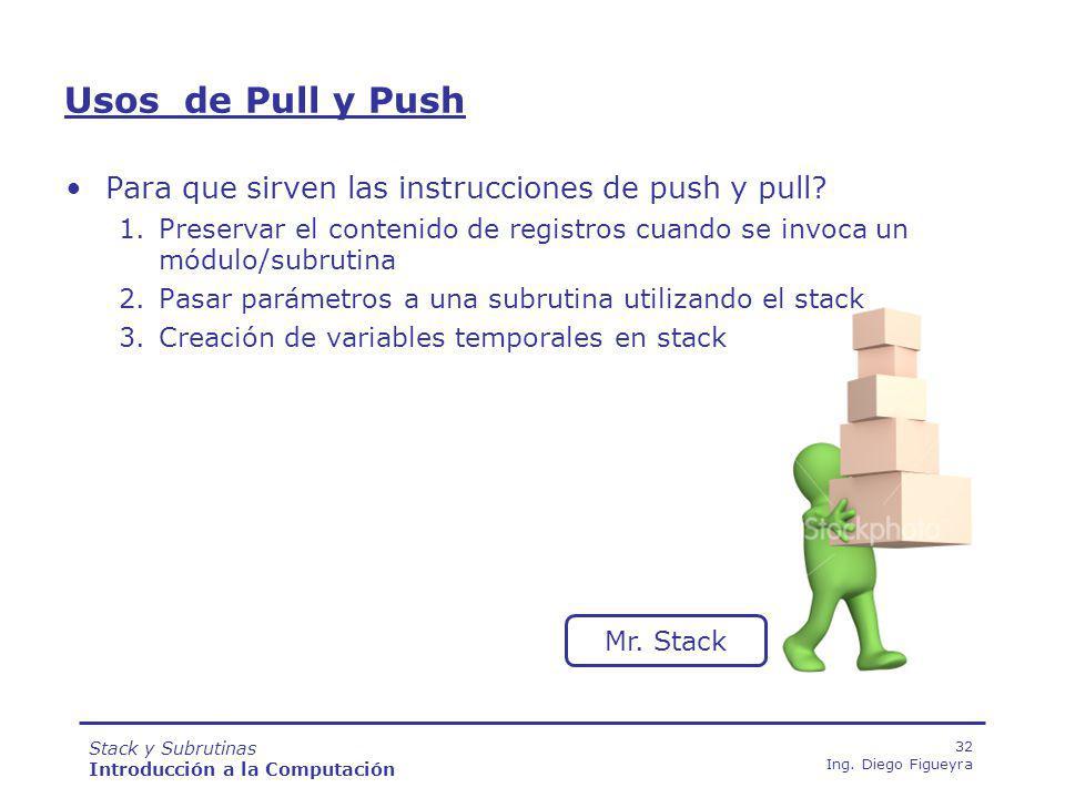 Stack y Subrutinas Introducción a la Computación 32 Ing.