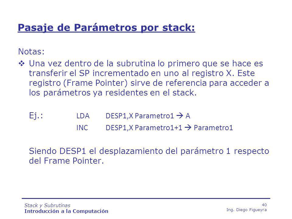 Stack y Subrutinas Introducción a la Computación 40 Ing.