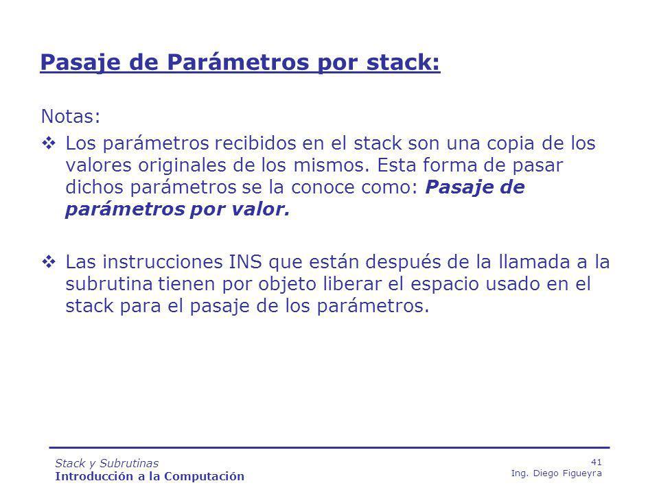 Stack y Subrutinas Introducción a la Computación 41 Ing.