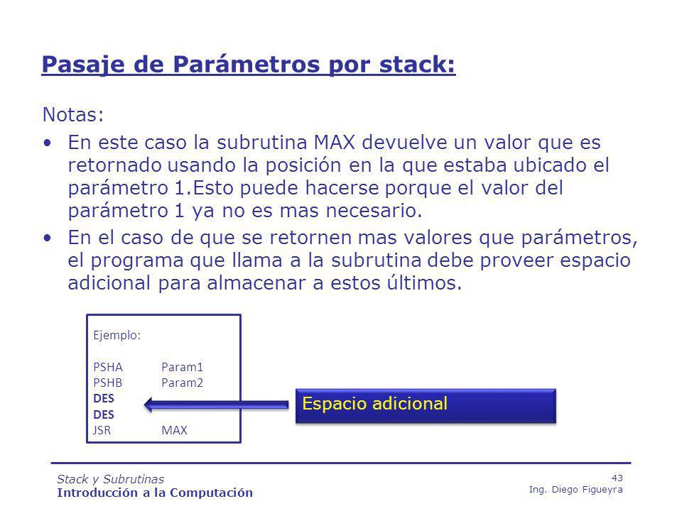 Stack y Subrutinas Introducción a la Computación 43 Ing.