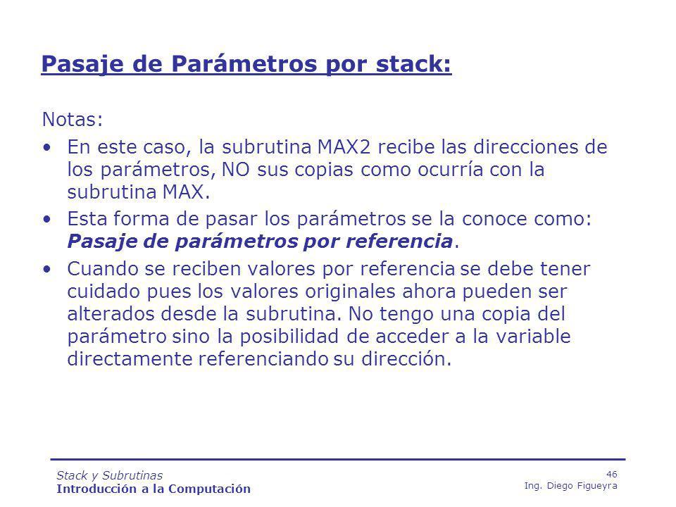 Stack y Subrutinas Introducción a la Computación 46 Ing.