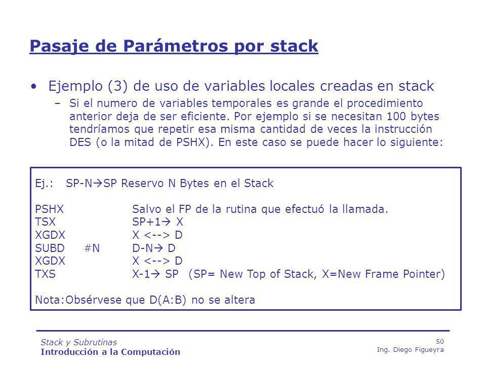 Stack y Subrutinas Introducción a la Computación 50 Ing.